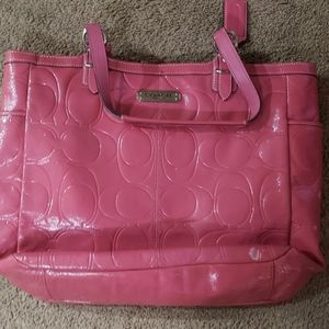 Coach Pink Patent Leather tote